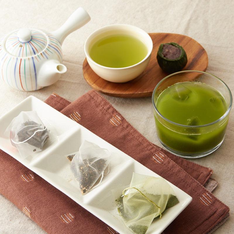 種子島のバラエティーお茶セット〔煎茶、ティーバッグ緑茶、ふんまつ緑茶、和紅茶、生姜紅茶〕