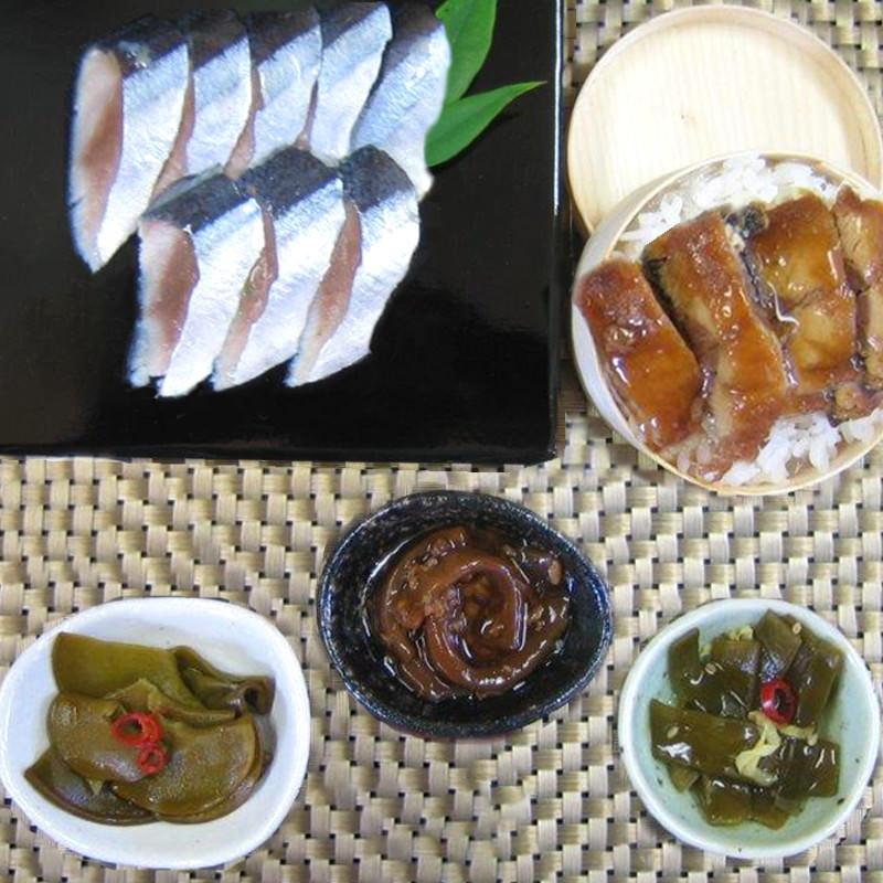 秋刀魚、いか、茎わかめ、めかぶを詰合せにしました 三陸宮古【海の惣菜セット】 古須賀商店・岩手県