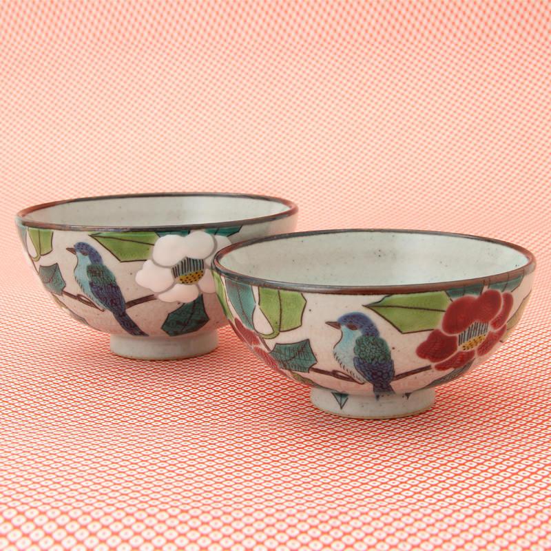 九谷焼 組飯碗 椿に鳥〔飯碗大小各1個〕