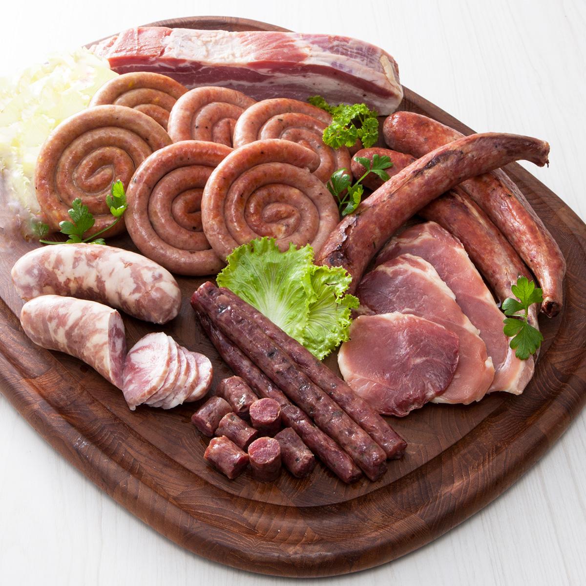 北海道産 とうやこ町お肉屋さんの味の詰め合わせセット 〔ソーセージ3種、シャンシャンハム、ポークジャーキー、豚バラベーコンブロック 〕 お肉屋さんたどころ