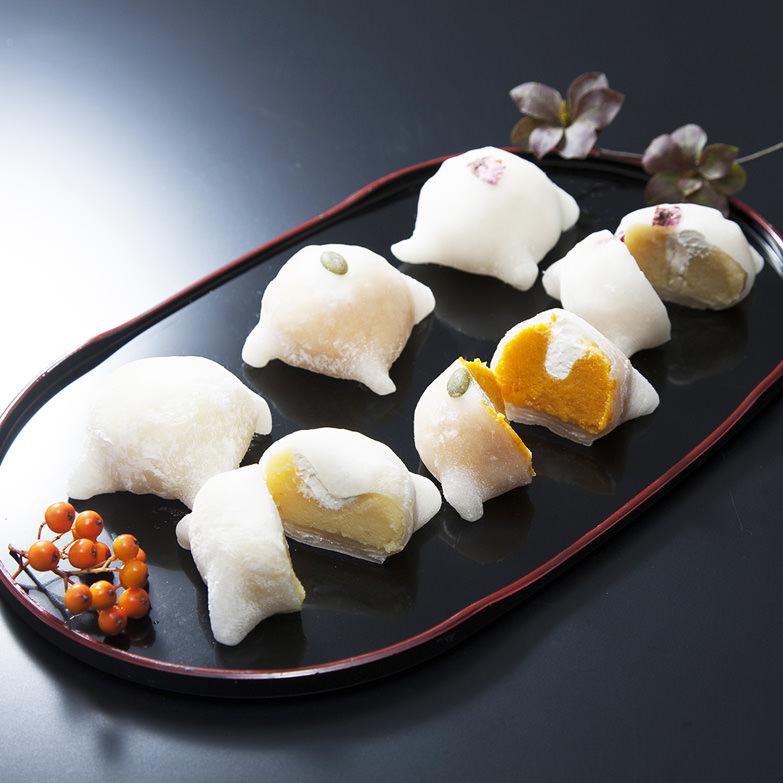 はこだて雪んこ詰合せ カドウフーズ株式会社 北海道 厚沢部町産さつまいものスイートポテトとホイップクリームを求肥で包んだ一品。