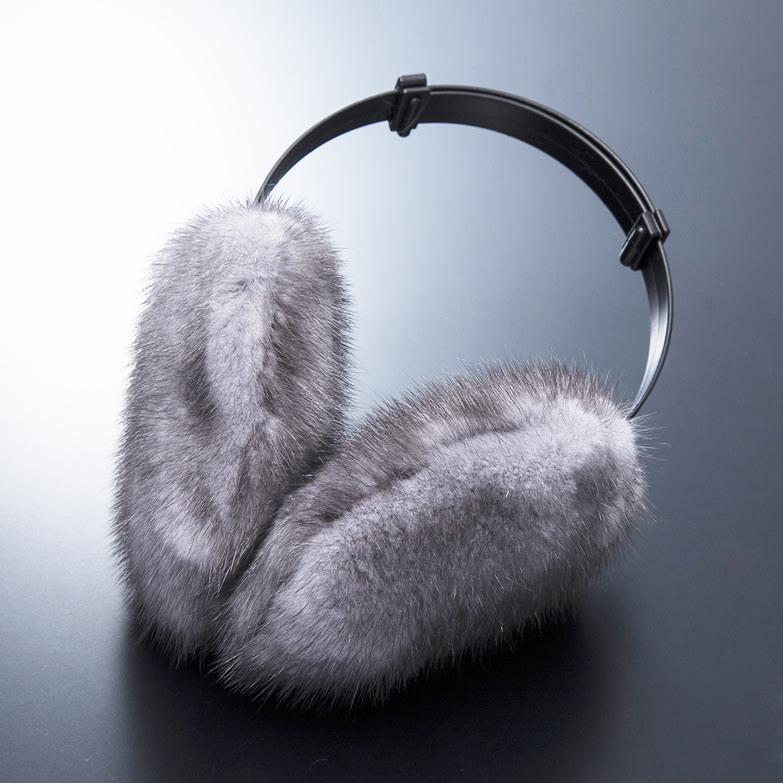 ミンク耳宛 有限会社函館ミンク 北海道 艶やかな光沢とシルクのような感触、高い保温性を兼ね備え、耳元をお洒落に演出