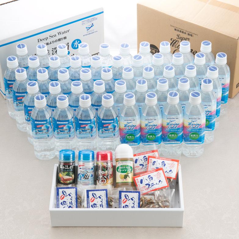 マリンゴールド 高知県 室戸の海洋深層水2種+深層水を利用した調味料とおつまみのセット〔水(2L)全2種48本・調味料4種・おつまみ全2種6個〕