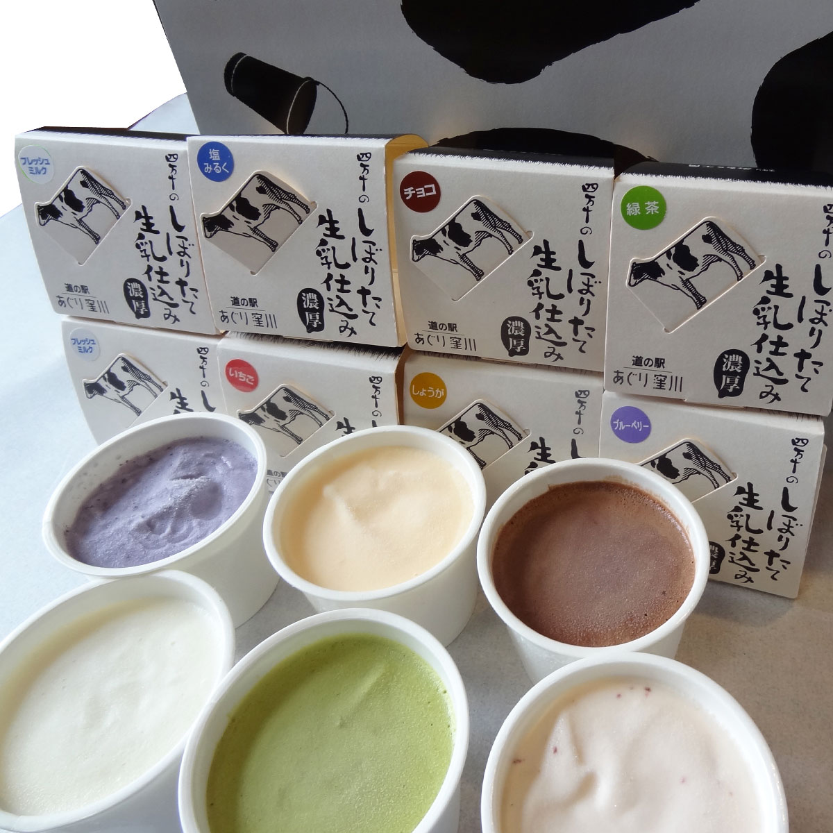 道の駅あぐり窪川 四万十育ちの生乳から手造り アイスクリームセット〔80ml×8個〕