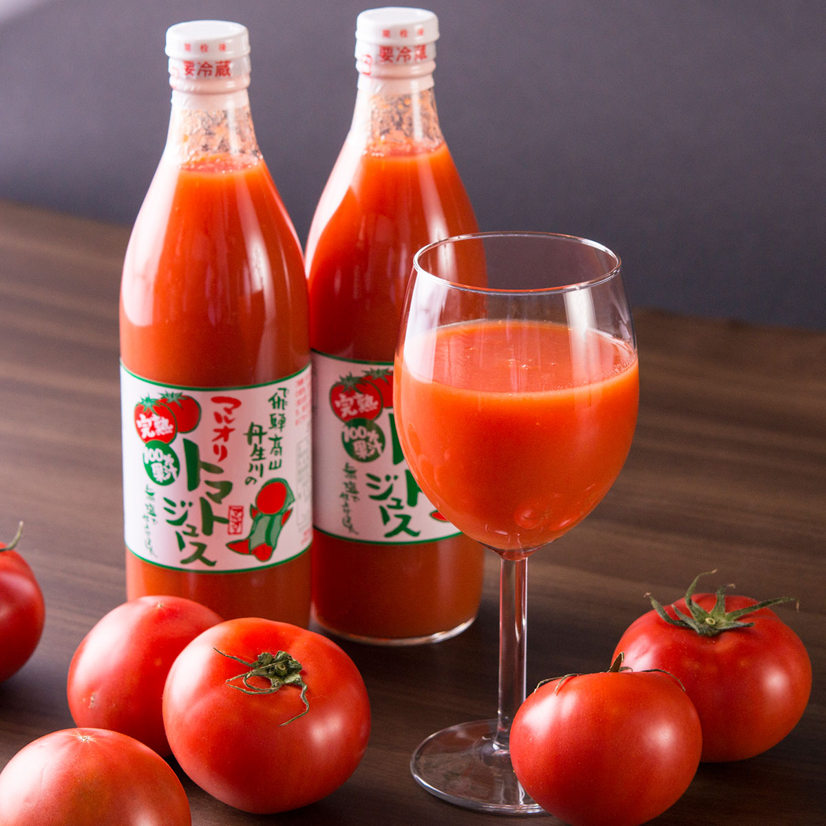 無添加 無塩 100%果汁 山丹生川の完熟桃太郎トマトジュース 12本入りセット〔500ml×12〕