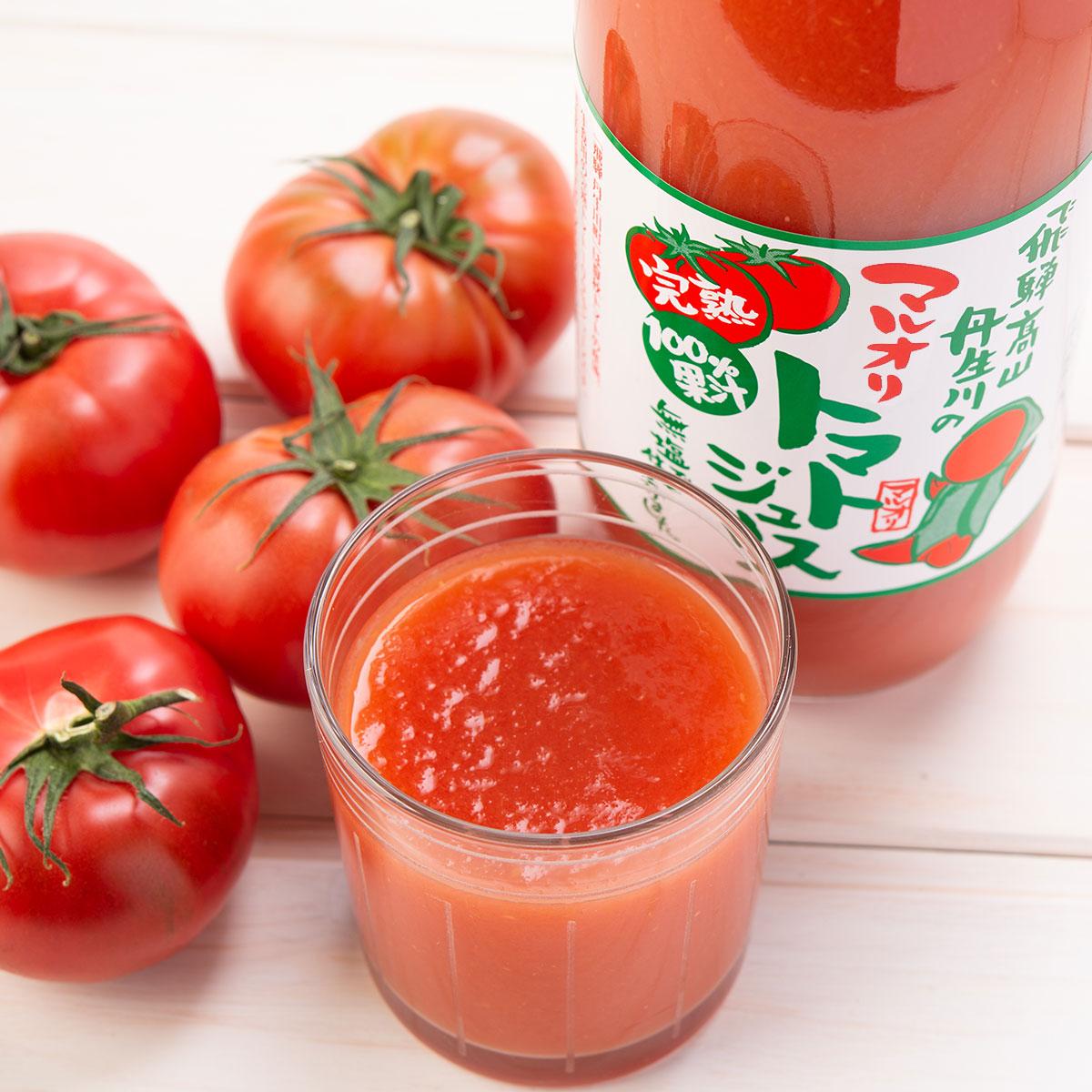無添加 無塩 完熟100%果汁 マルオリトマトジュース 1L4本セット〔1000ml×4〕