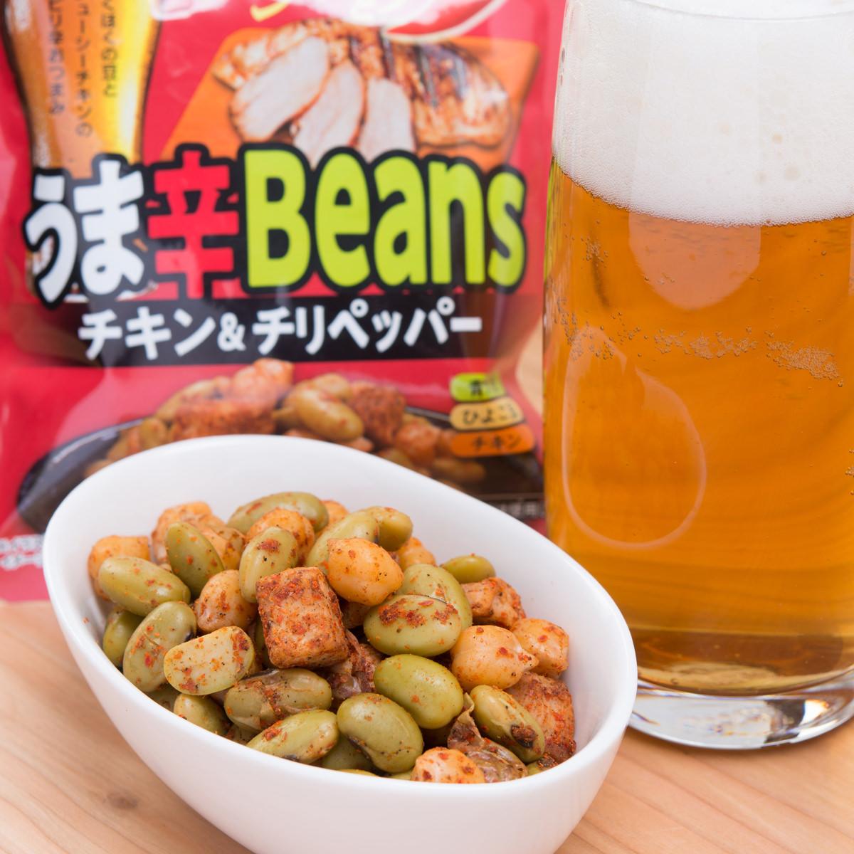 カネハツ 手を汚さずに食べられる おつまみ豆 うま辛Beans チキン チリペッパー〔60g×6〕