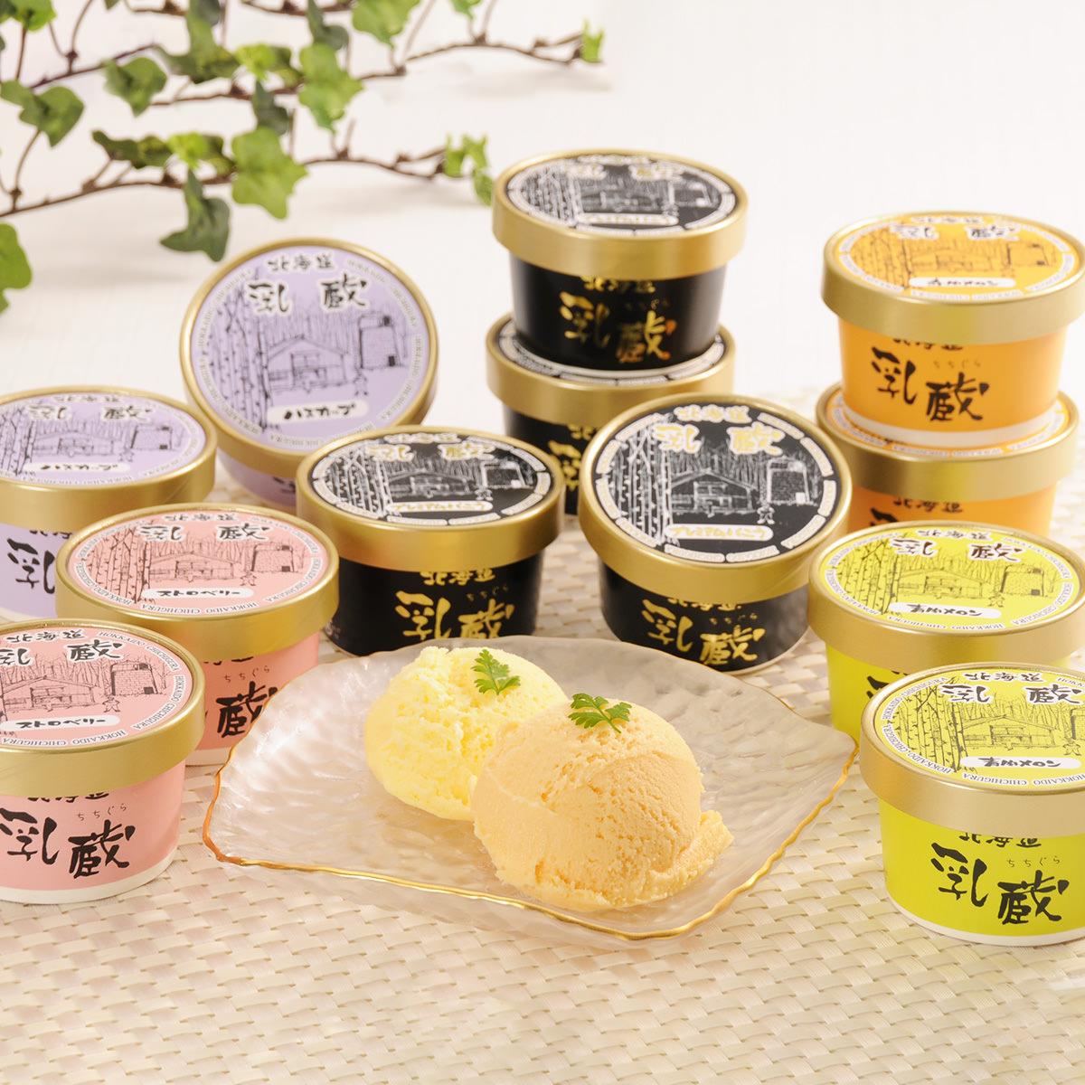 乳蔵北海道アイスクリーム 5種12個セット〔プレミアムバニラ×4・ハスカップほか4種×各2〕