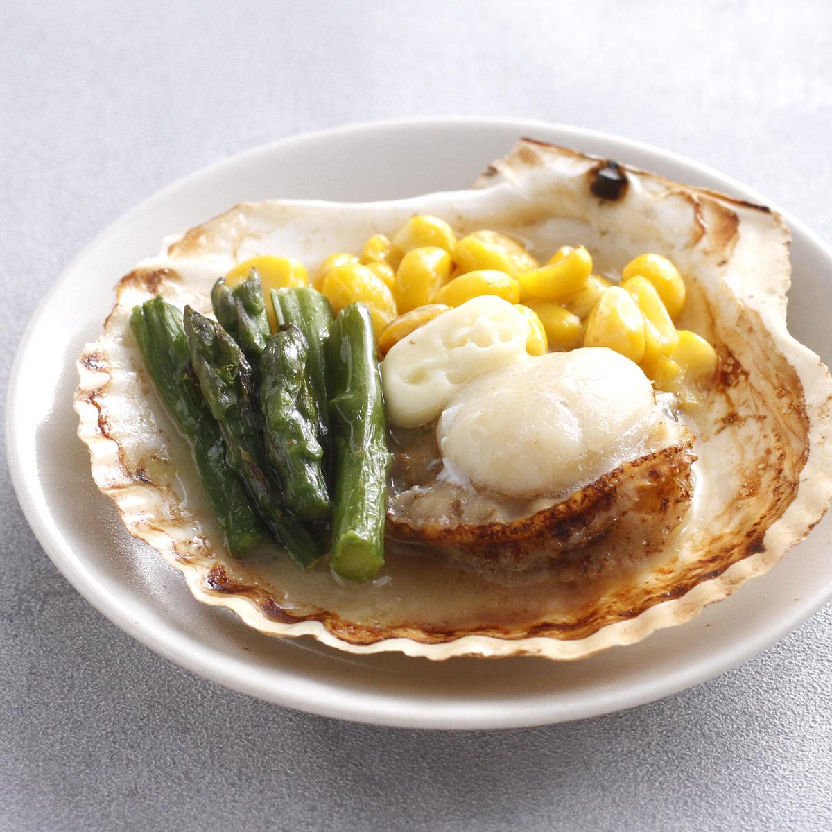 帆立バター焼きセット 6袋 〔(ホタテ片貝×1枚、コーン10g、アスパラ10g、バター8g)×6〕 北海道産 海鮮惣菜