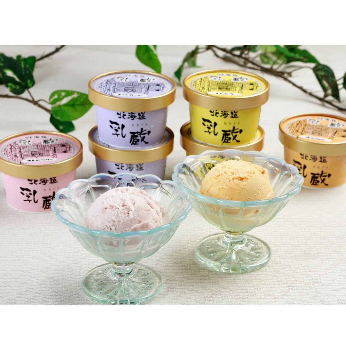 乳蔵 北海道アイスクリーム 8個 〔バニラ・赤肉メロン・ストロベリー・ハスカップ 各90ml×2〕 北海道産 アイス詰め合わせ