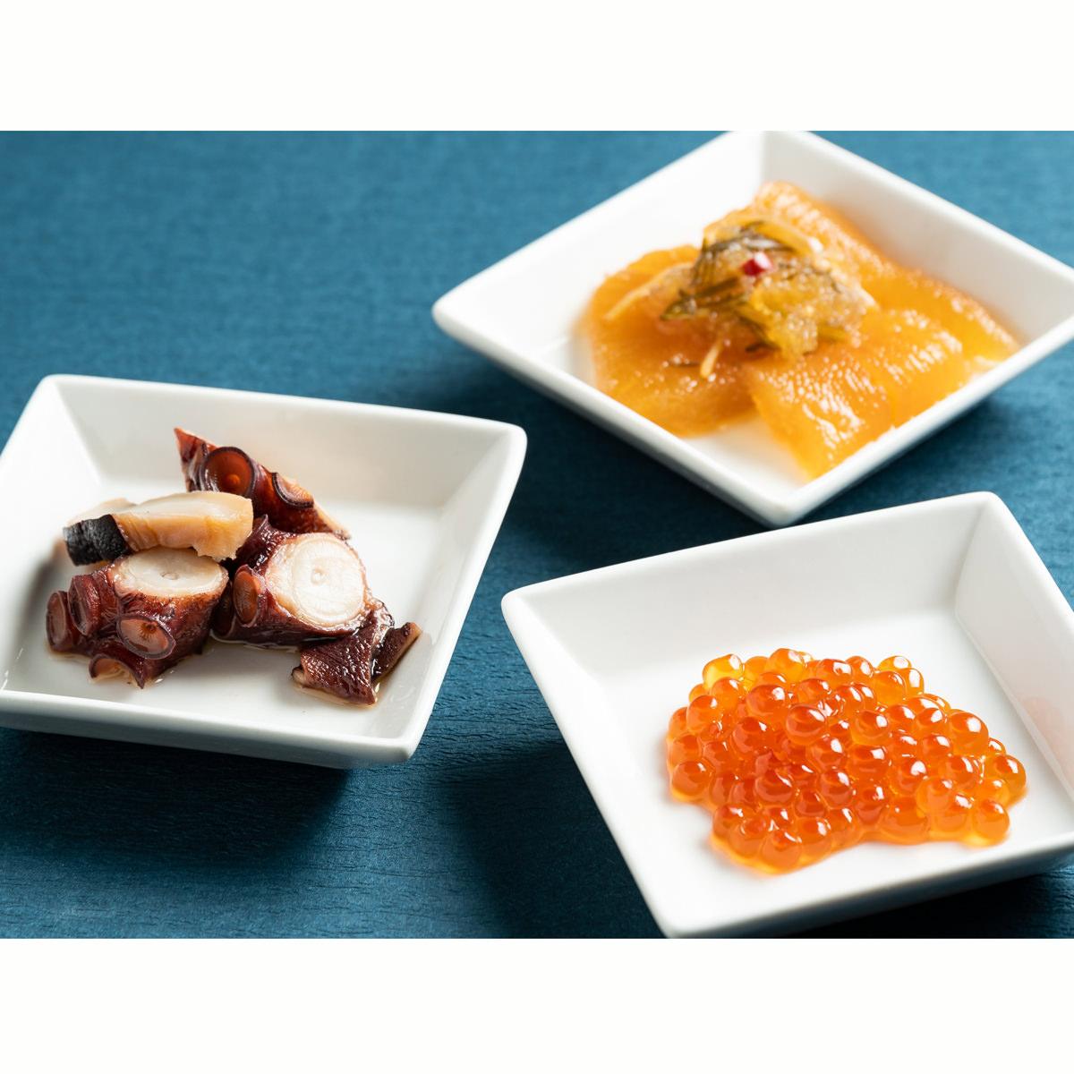 海の幸バラエティセット 〔いくら醤油漬け100g、たこの柔らか煮180g、数の子松前漬200g〕 北海道 海鮮惣菜