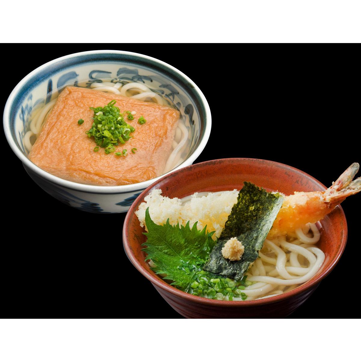 うどん本陣山田家 DX-4 冷凍 大きなえび天ぷらと特製きつねうどんセット 4人前〔味付あげ95g×2ほか〕