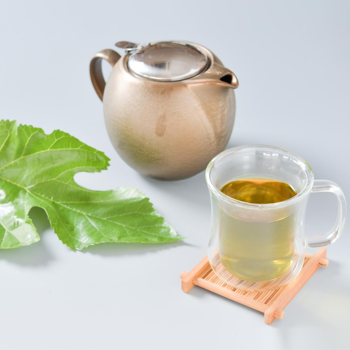 桑郷 山梨県 ハンさんのおいしいくわ茶リーフ2個セット 国産ノンカフェインのお茶 無農薬 桑の葉茶〔100g×2〕