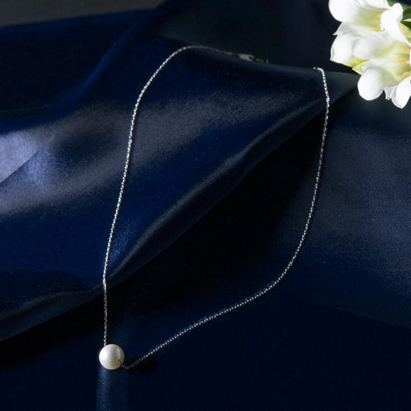 三重特産_ホワイトゴールド ネックレス ナチュラルグレー珠