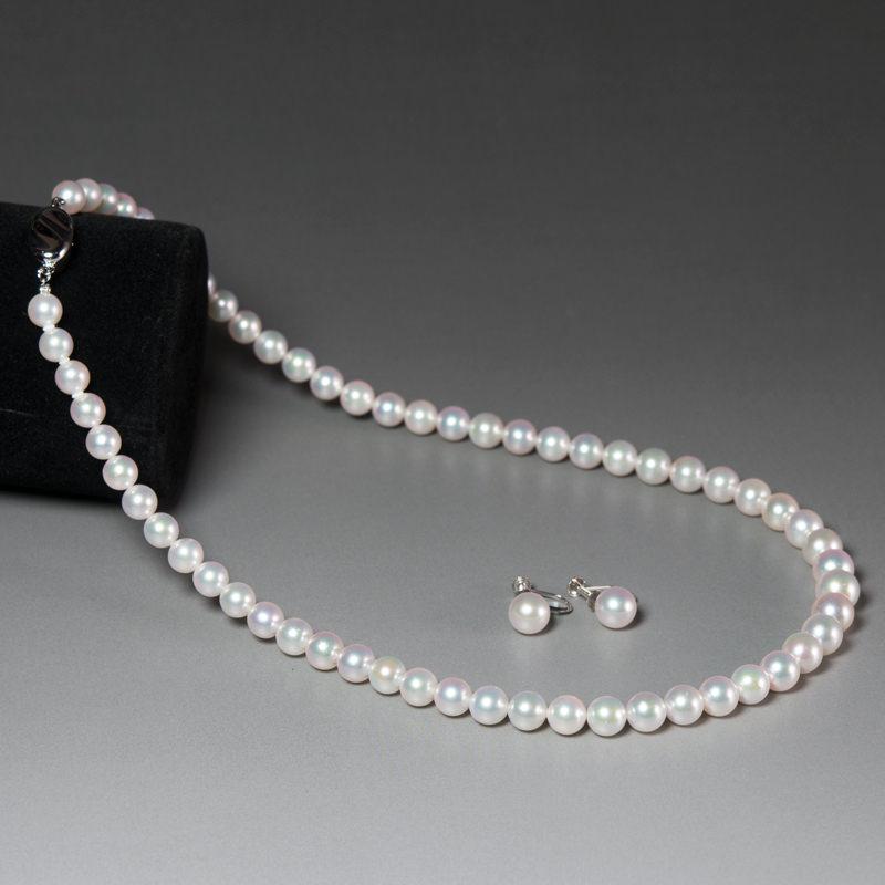 真珠ネックレス イヤリング(ピアス)セット〔ネックレス約42cm・イヤリング(ピアス)真珠7.0〜7.5mm〕