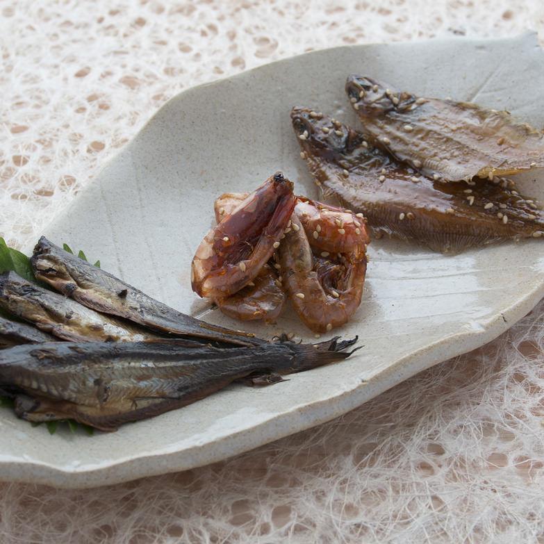 でんべいセット でんべいかれい生産グループ 秋田県 手間暇かけた逸品です。3種類とも骨までまるごと食べられます。