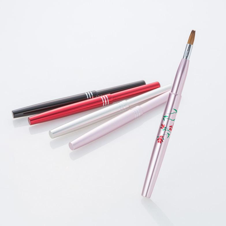 携帯用スライド式・熊野化粧筆リップブラシ2本セット【セーブル】宮尾産業 広島県