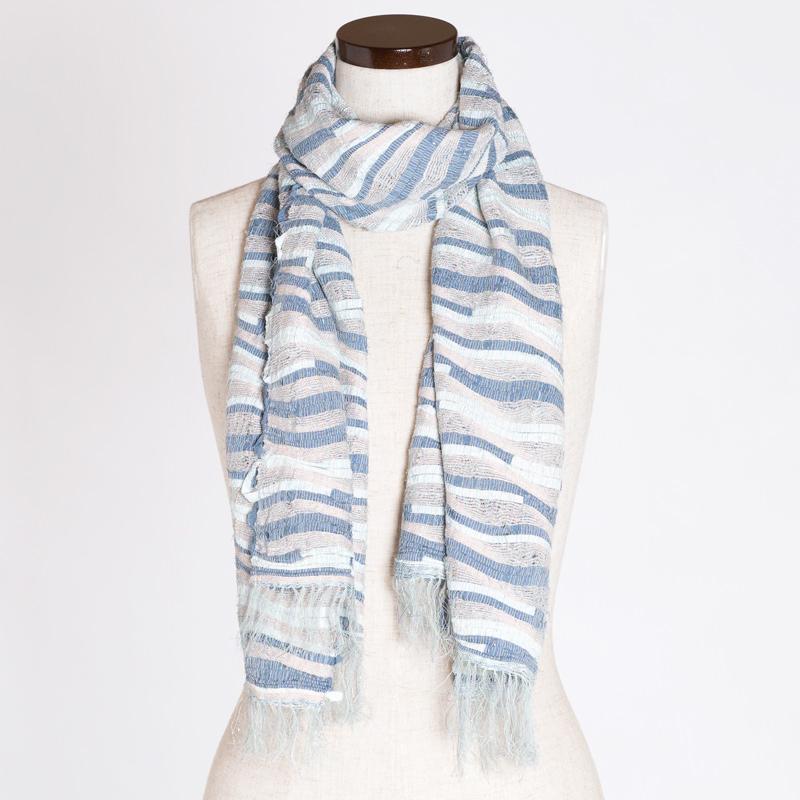 【1点もの】さき織ショール 波模様を織り込んだ一点もの 肌ざわりのよい絹織物〔幅450mm×長さ1450mm〕