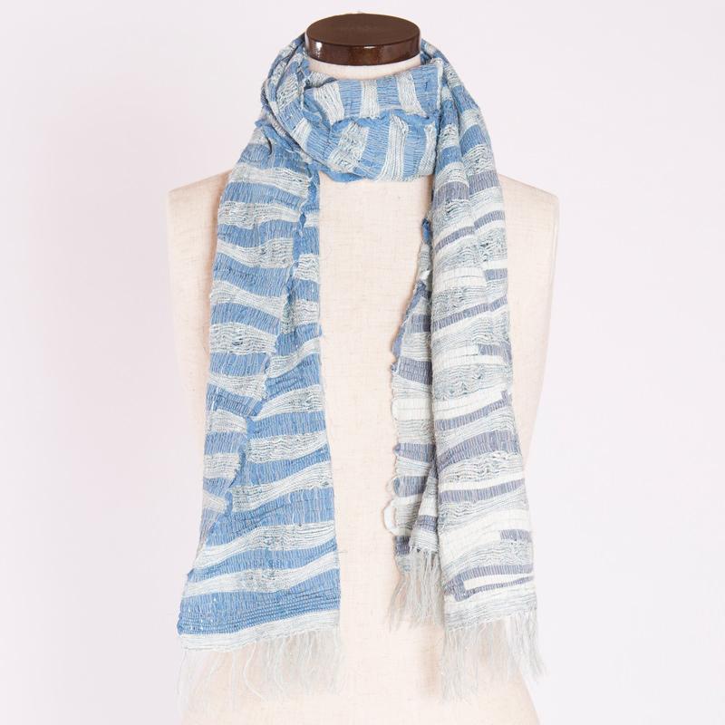 【1点もの】万定織物 さき織りショール波もよう入り 1点もの〔幅47cm×長さ140cm〕