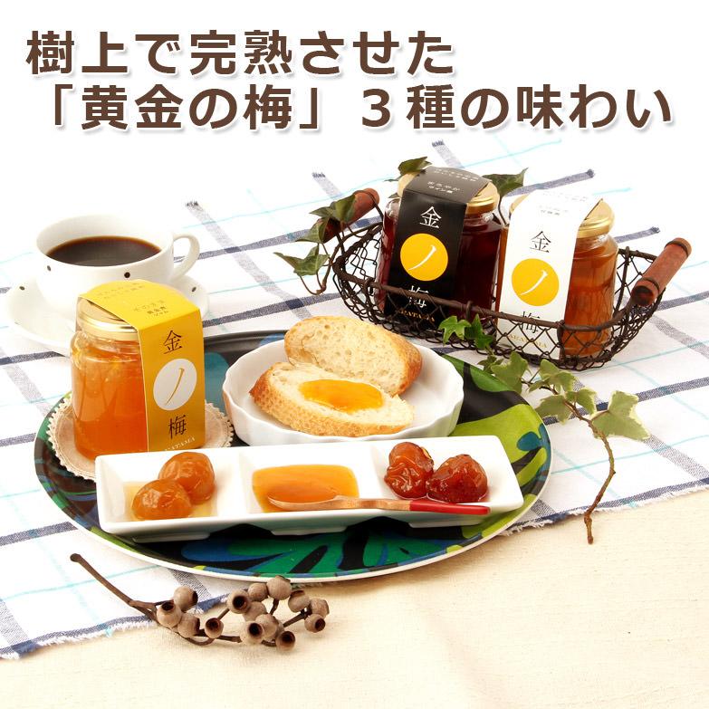 樹上で完熟させた良質な梅を贅沢に使用  金の梅(3点セット) 新珠製菓株式会社・福井県