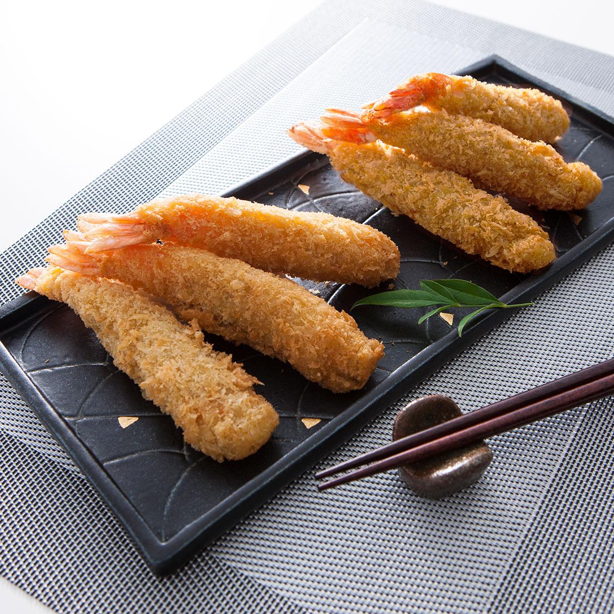 えびフライ 有限会社山世水産 山口県 ぷりぷり食感の大きな手作りえびフライ。シンプルな味付けのプレーンとお子様に人気のカレー味のセット。