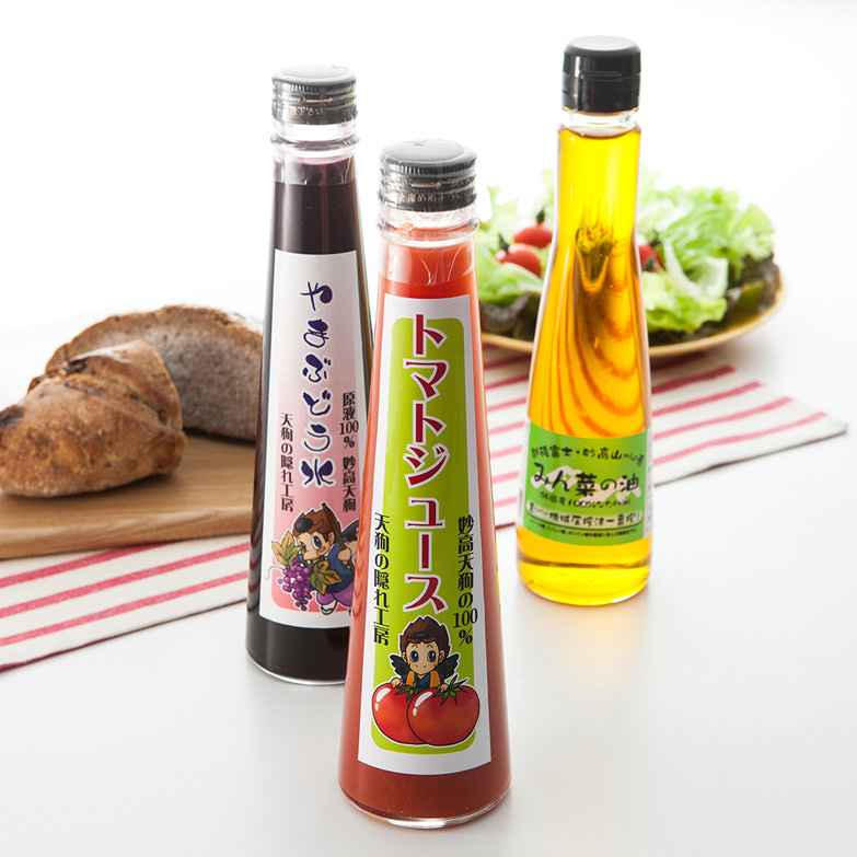 妙高山からの恵 妙高育ちの三姉妹セット 有限会社妙高ファーム 新潟県 豊かな自然が育んだなたね油、ジュースのセット