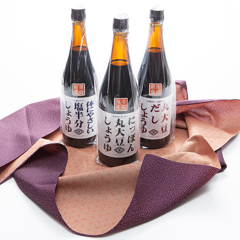 和風エコギフト720ml×3本セット 風呂敷(大)付き ニシキ醤油株式会社 奈良県 旨味と香りが生きる「酵母菌」を生かした製法