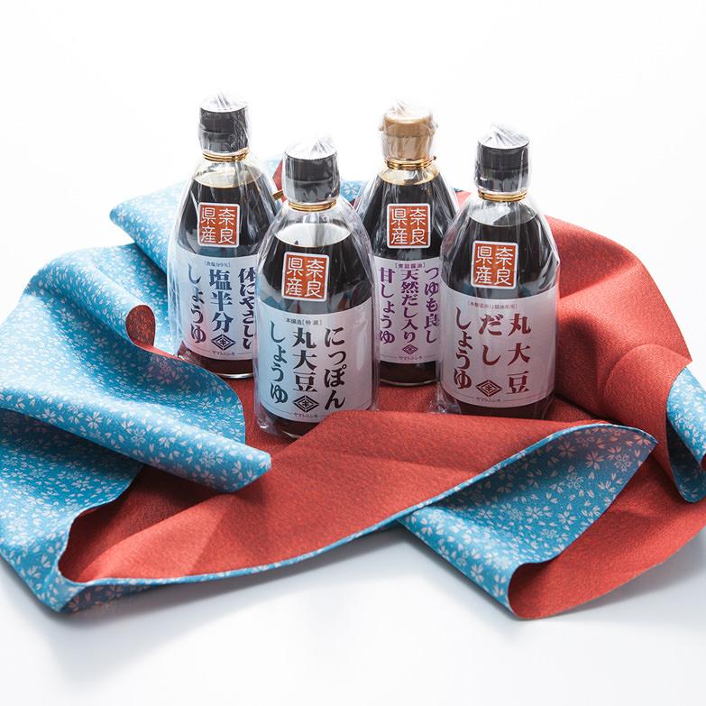 奈良名物-和風エコギフト 醤油300ml×4本セット 風呂敷付き