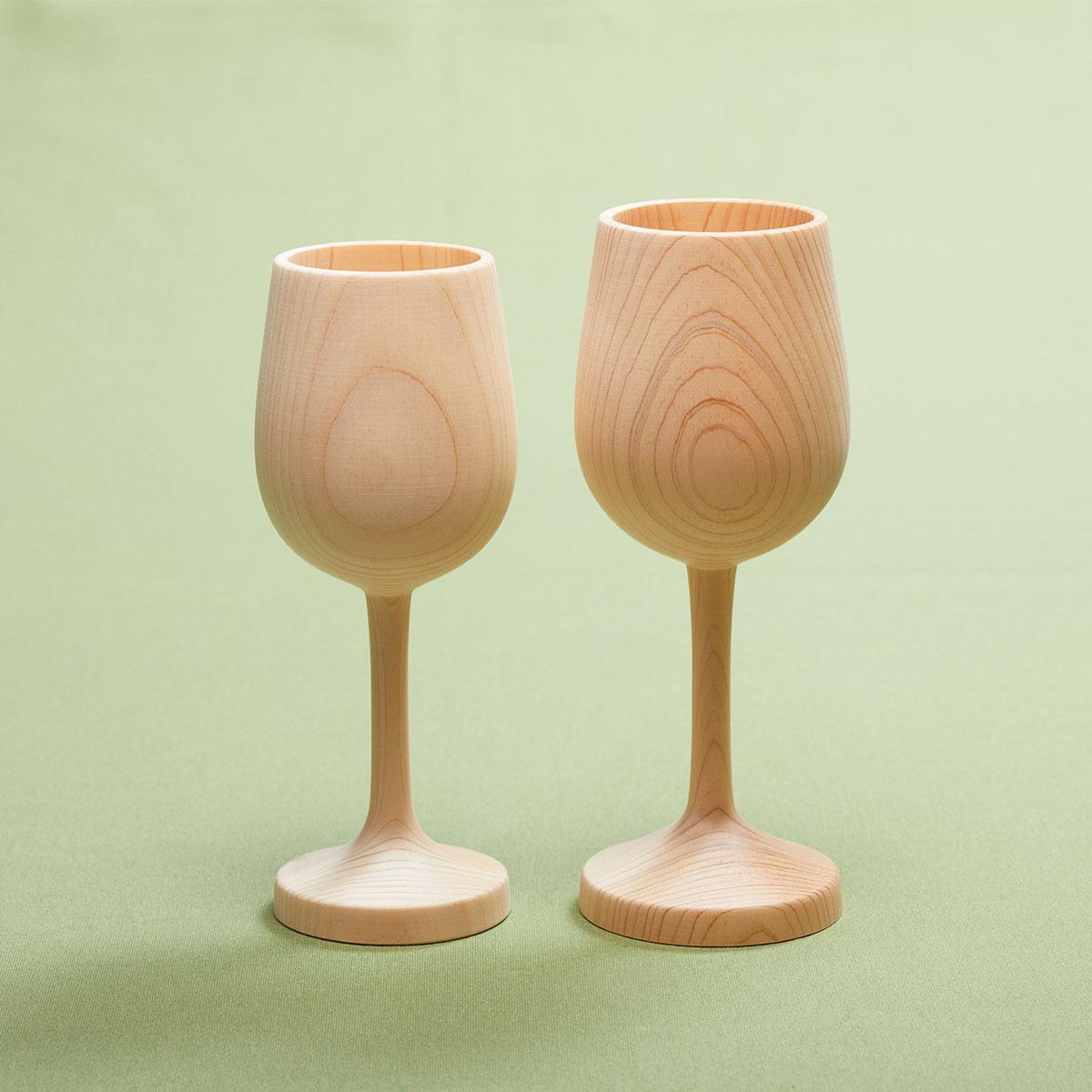 桐村製材 京都丹州桧 ワイングラス風ぐい呑み 大小セット〔内径5.0cm×高さ17cm・内径4.5cm×高さ15cm〕