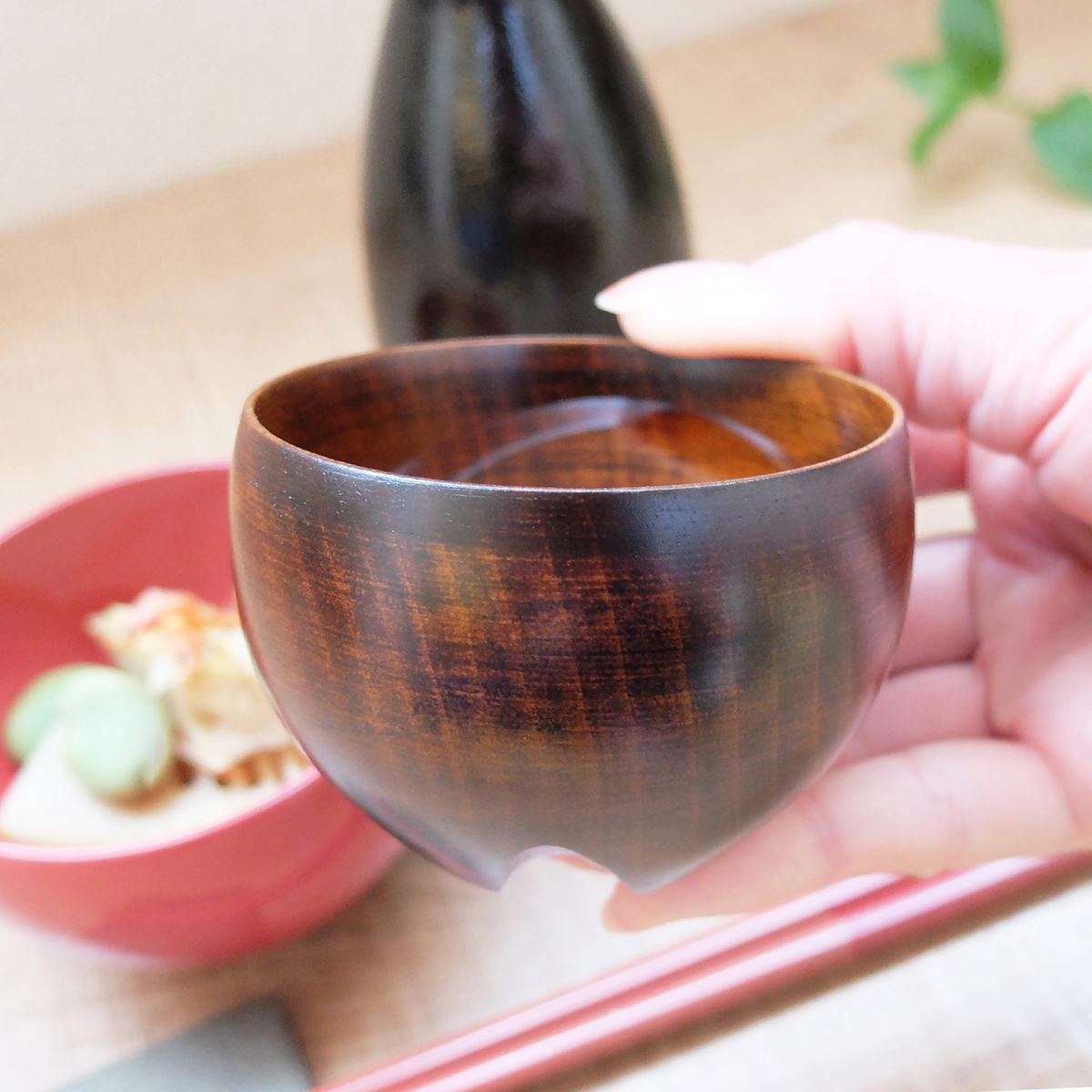 RAKUZEN 倒れても起き上がる漆塗りのぐいのみ らく杯〔直径70mm×高さ50mm 〕