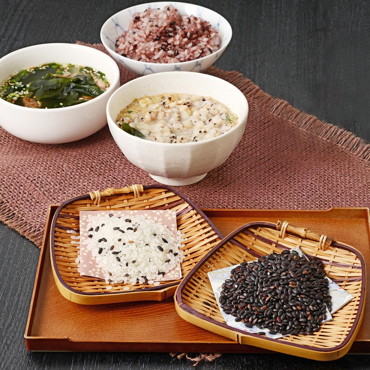 多賀城しろのむらさき 酒・米・スープおすすめセット〔古代米、酒、スープ2種、ササニシキ、ひとめぼれ〕