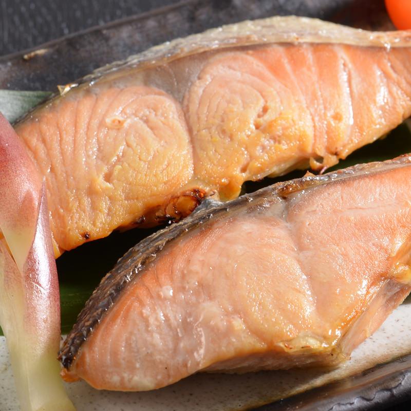 北海道産 秋鮭西京漬&秋鮭昆布〆セット〔秋鮭西京漬80g×5切・秋鮭昆布〆80g×5切〕