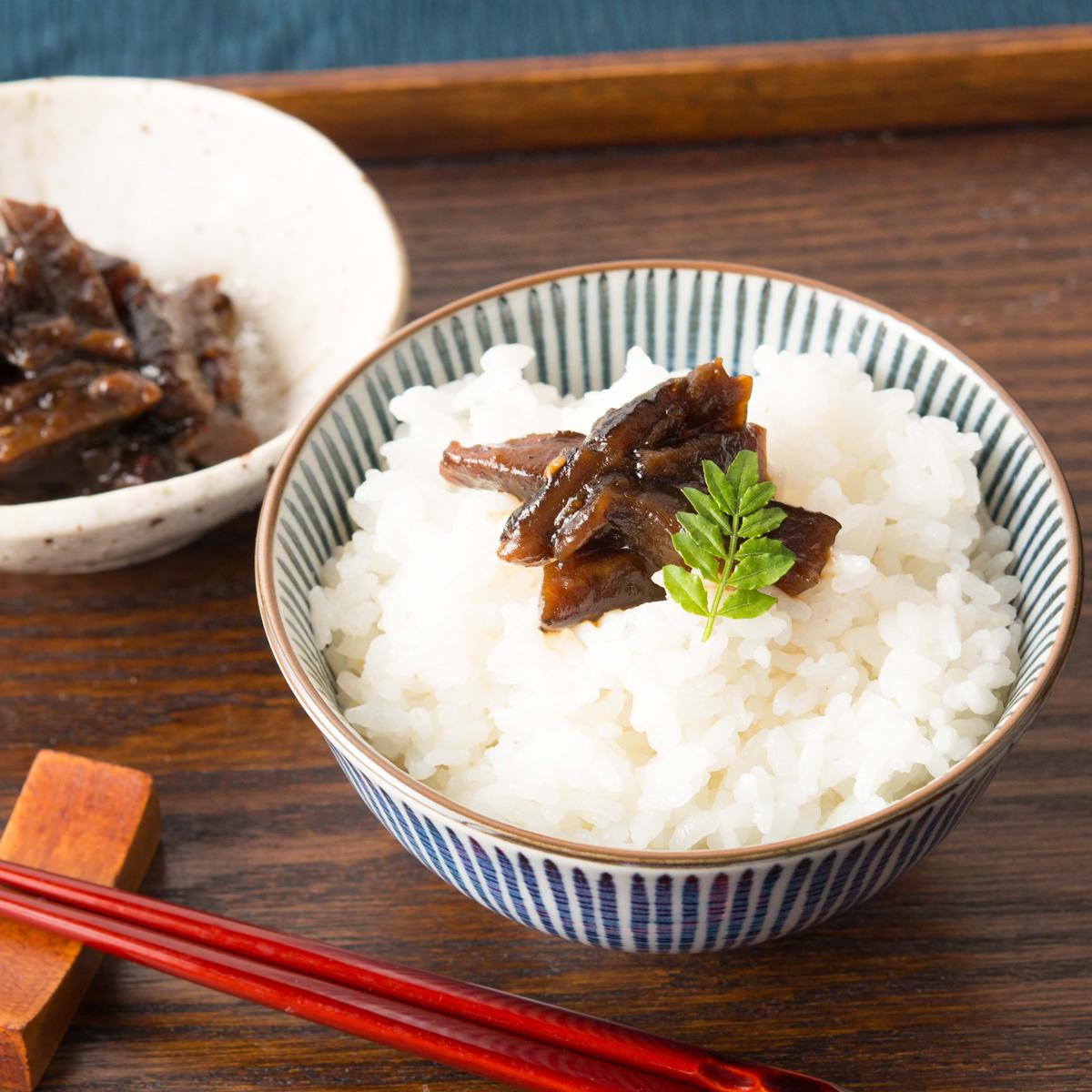 天照 モーツァルトの曲を聴いて育った和歌山県産のしいたけ使用 ゆずと椎茸の佃煮プレミア〔150g〕