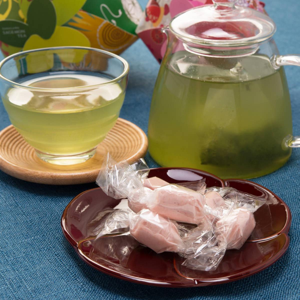 ラヴィレ コヤナギ 柳川さげもん茶とさげもん飴セット〔緑茶ティーパック5g×7・飴10粒〕