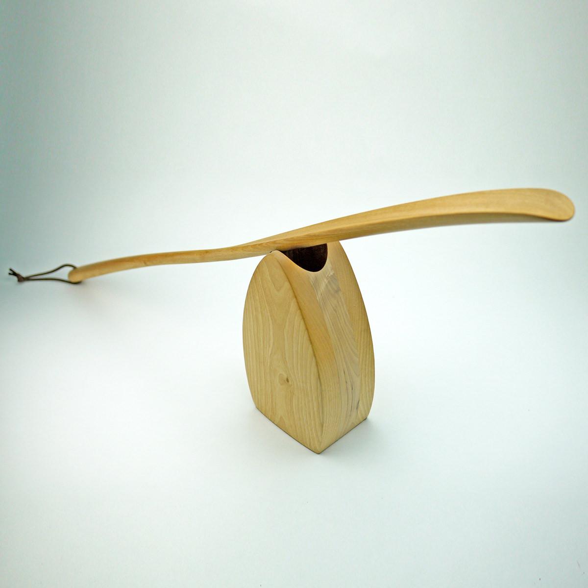 プラム工芸 斧折樺のロング靴べらセット〔くつべら×1・スタンド×1〕