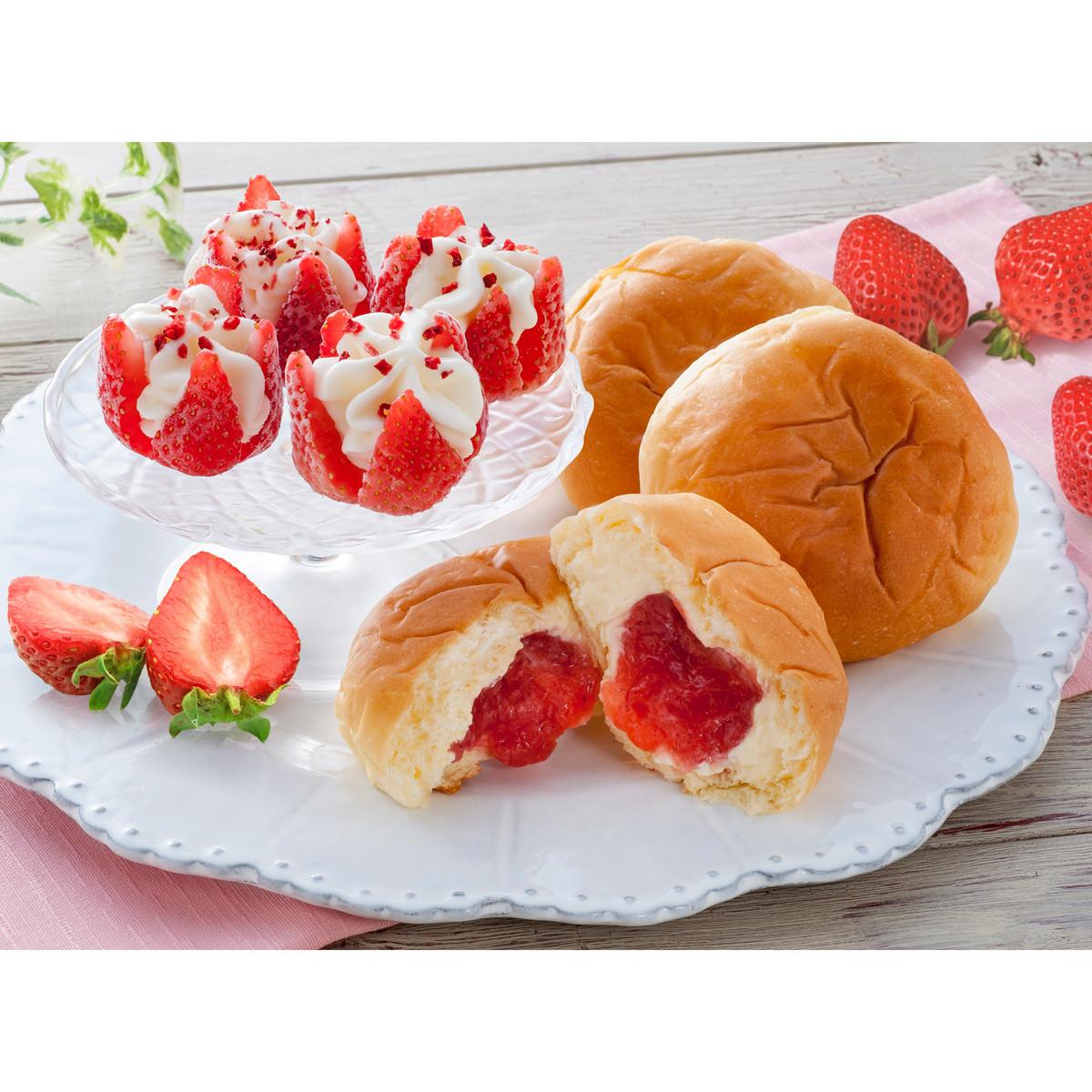 母の日 博多あまおう花いちごのアイス&八天堂あまおうくりーむパン 〔全2種計7個 カーネーション付(造花)〕 アイスクリーム 菓子パン