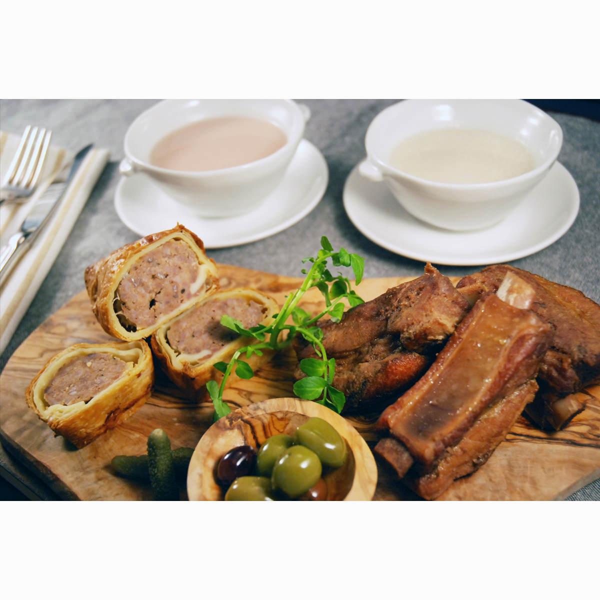 ファイブミニッツ・ミーツ スープのグルメセット 4種 〔スープ2種×各2、ミートパイ、スペアリブ〕 兵庫県 神戸 芦屋 牛肉惣菜 詰め合わせ
