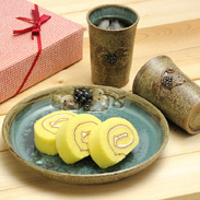 さつま焼 山ぶどうフリーカップ&大皿セット わらべ工房・鹿児島県