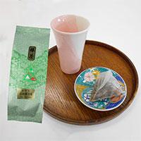 九谷結ツートンフリーカップ、小皿・加賀の棒茶セット〔フリーカップ、小皿、棒茶4g×10個〕