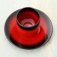 輪島塗 カップ&ソーサー ぼかし塗〔高さ7cm×直径7.2cm〕