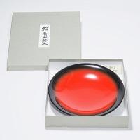 軽くて丈夫 伝統工芸 輪島塗 菓子鉢 百合型 黒朱ぼかし〔直径約23.8cm×深さ約3.7cm〕