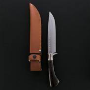 伝統工芸士「宗石博孝」作、世界に一つしかないオリジナル ダマスカス狩猟鉈180ミリ 宗石刃物製作所・高知県