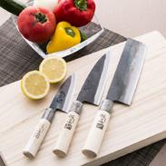 この3本があればすぐに料理ができる 家庭用料理庖丁(両刃庖丁)3点セット 土佐流和楽・高知県