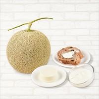 富良野メロン・チーズ 〔メロン1.3kg、クリームチーズ200g、レアチーズケーキ75g×3〕 メロン チーズ 洋菓子 江戸屋