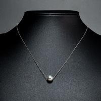 本真珠 ホワイトゴールド ネックレス ナチュラルグレー珠〔真珠8.5〜9.0mm珠・チェーンK10WG 約40cm〕