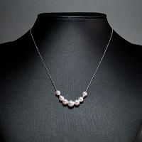 本真珠 ホワイトゴールドネックレス 7珠〔真珠5.0〜7.0mm珠×7・チェーンK10WG約40cm・ミラーボールK14WG×2〕