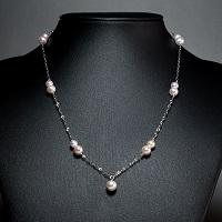 ホワイトゴールドネックレス 13珠〔真珠5.5〜7.5mm珠×13・チェーンK10WG約40cm・アジャスター約4cm〕