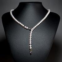 アコヤ本真珠 ネックレス 天然石入りトップ付〔真珠6.0〜7.0mm珠・ミラーボールK14WG×2〕