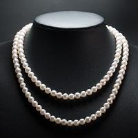 伊勢志摩産 アコヤ本真珠 2本ロングネックレス 約80cm〔真珠6.5〜7.0mm珠〕