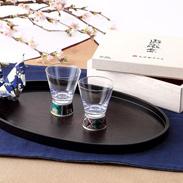 九谷和グラス 伝統工芸の新しいかたち〈 ペアショットグラス 〉石畳 | 清峰堂株式会社・石川県